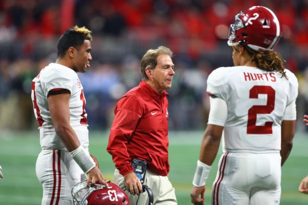 Jan 8, 2018; Atlanta, GA, USA; Alabama Crimson Tide quarterback Tua Tagovailoa (13), Jalen Hurts (2) and head coach Nick Saban against the Georgia Bulldogs in the 2018 CFP national championship college football game at Mercedes-Benz Stadium. Mandatory Credit: Mark J. Rebilas-USA TODAY Sports