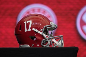 Jul 18, 2018; Atlanta, GA, USA; An Alabama Crimson Tide helmet is shown on the main stage during SEC football media day at the College Football Hall of Fame. Mandatory Credit: Dale Zanine-USA TODAY Sports
