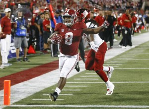 Sep 1, 2018; Orlando, FL, USA; Louisville Cardinals safety Khane Pass (30) cannot catch Alabama Crimson Tide running back Josh Jacobs (8) who scores during the second half at Camping World Stadium. Mandatory Credit: Reinhold Matay-USA TODAY Sports