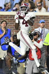 Sep 15, 2018; Oxford, MS, USA; Alabama Crimson Tide wide receiver Jerry Jeudy (4) makes a reception against the Mississippi Rebels during the second quarter at Vaught-Hemingway Stadium. Mandatory Credit: Matt Bush-USA TODAY Sports