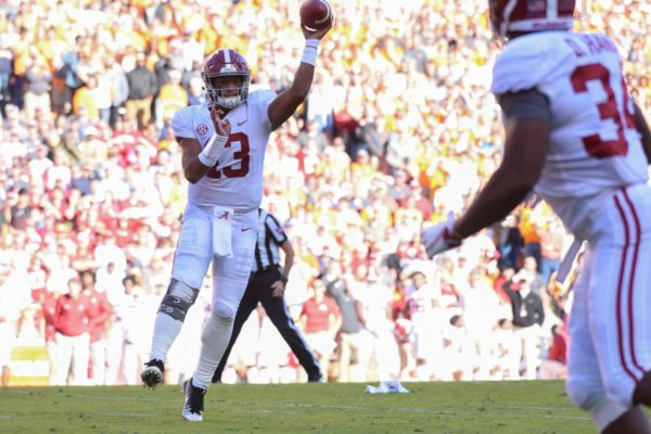 Oct 20, 2018; Knoxville, TN, USA; Alabama Crimson Tide quarterback Tua Tagovailoa (13) passes the ball to running back Damien Harris (34) during the first half against the Tennessee Volunteers at Neyland Stadium. Mandatory Credit: Randy Sartin-USA TODAY Sports