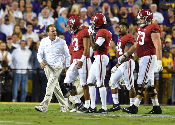 Nov 3, 2018; Baton Rouge, LA, USA; Alabama Crimson Tide head coach Nick Saban yells at Alabama Crimson Tide quarterback Tua Tagovailoa (13) after having to call a time out during the first quarter against the LSU Tigers at Tiger Stadium. Mandatory Credit: John David Mercer-USA TODAY Sports