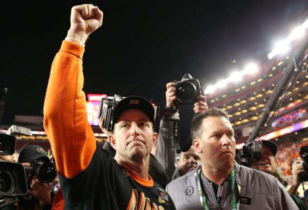 Jan 7, 2019; Santa Clara, CA, USA; Clemson Tigers head coach Dabo Swinney celebrates after defeating the Alabama Crimson Tide in the 2019 College Football Playoff Championship game at Levi's Stadium. Mandatory Credit: Cary Edmondson-USA TODAY Sports