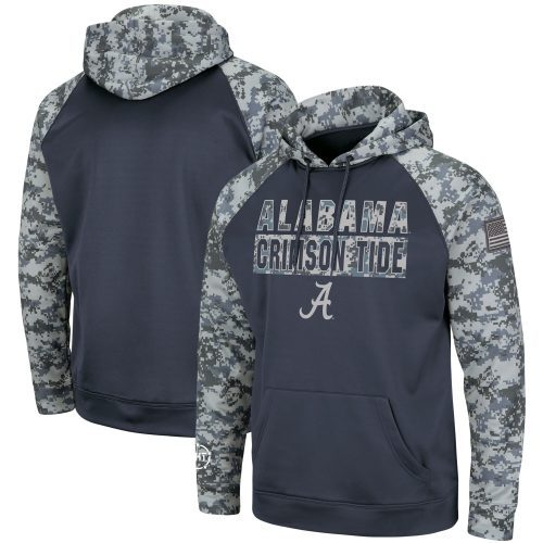 TideFansStore.com : Alabama Crimson Tide Colosseum OHT Military Appreciation Digi Camo Raglan Pullover Hoodie - Charcoal/Camo
