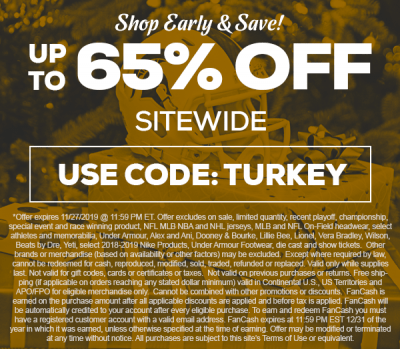 TideFansStore.com : Up to 65% off until Thanksgiving! TideFans.com may receive a commission when you click on the link and purchase something. We thank you for helping the site!
