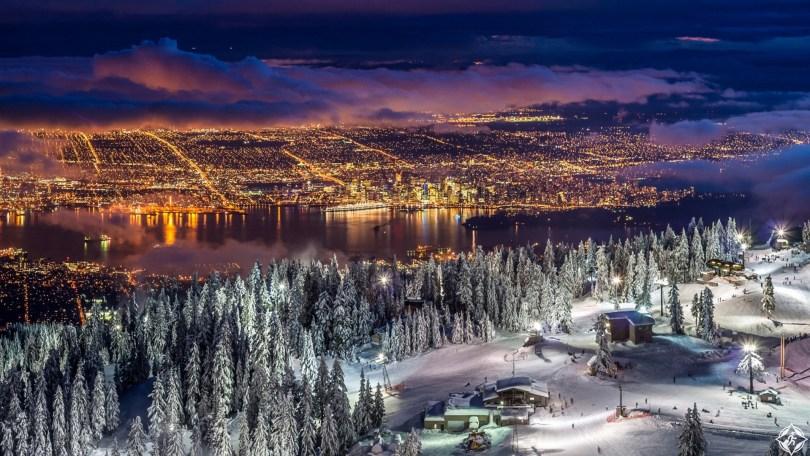كندا-فانكوفر-أضواء-المساء-ثلوج-منتصف-الشتاء