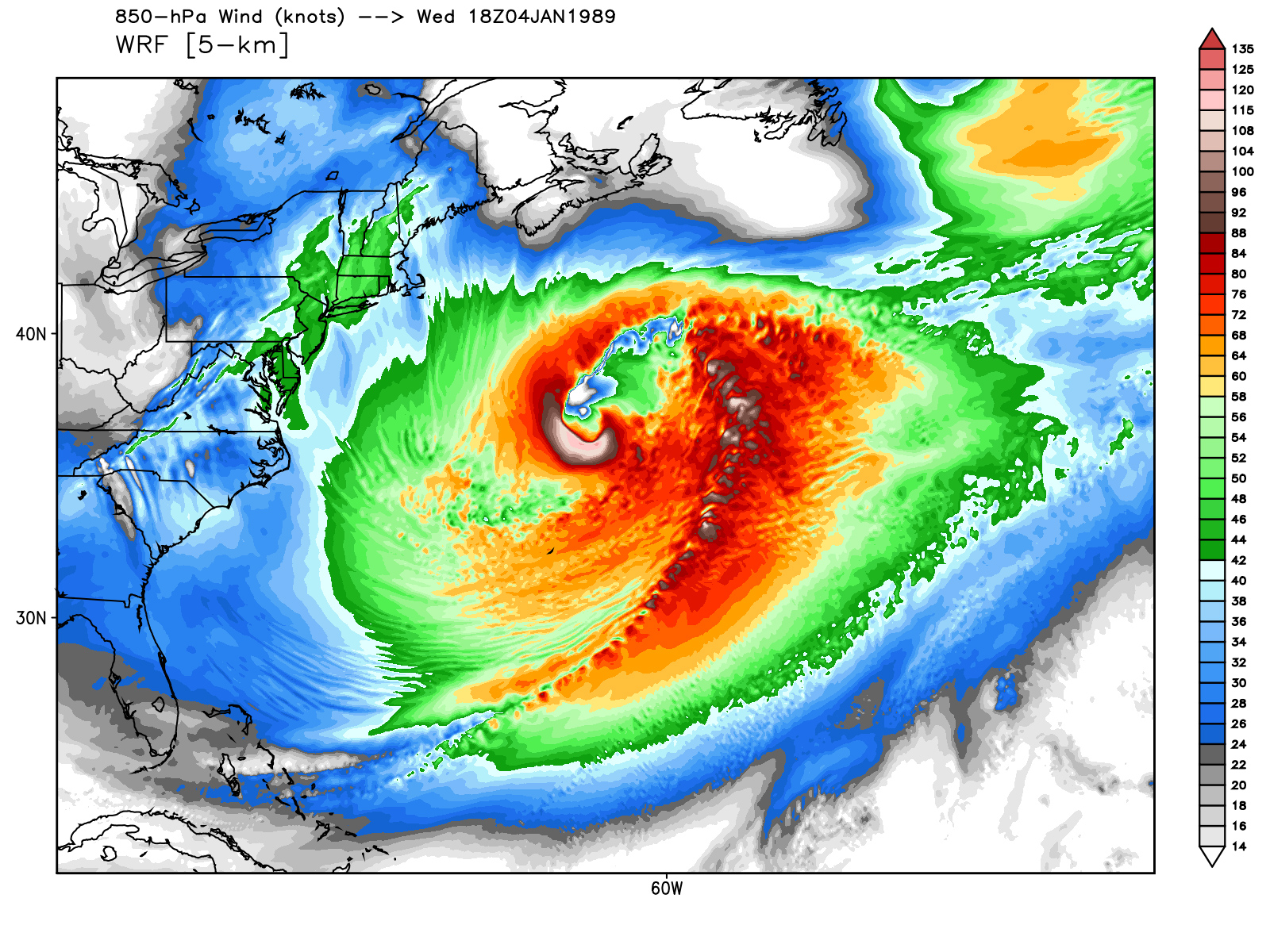 hight resolution of model depiction of the erica iop 4 storm over atlantic january 1989