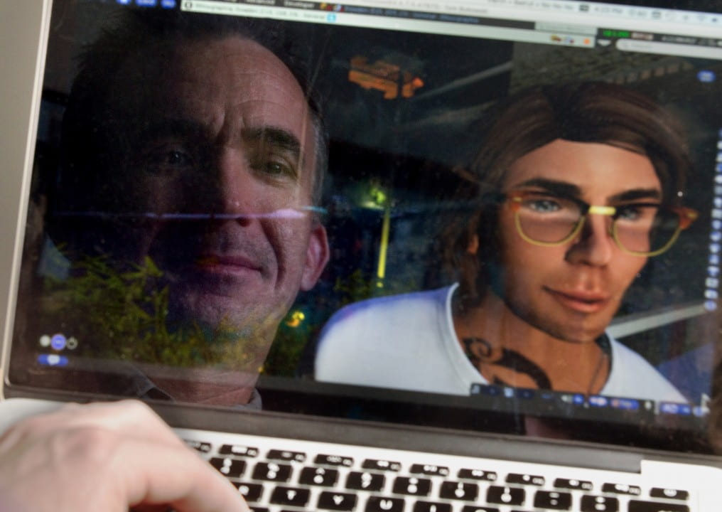 """Since some early human first picked up a stick to use as a cane, persons with disabilities have been at the forefront of technology innovation, so it's natural that they would be doing creative things in virtual worlds too,"" says UCI anthropology professor Tom Boellstorff, shown with his Second Life avatar.  Steve Zylius / UCI"
