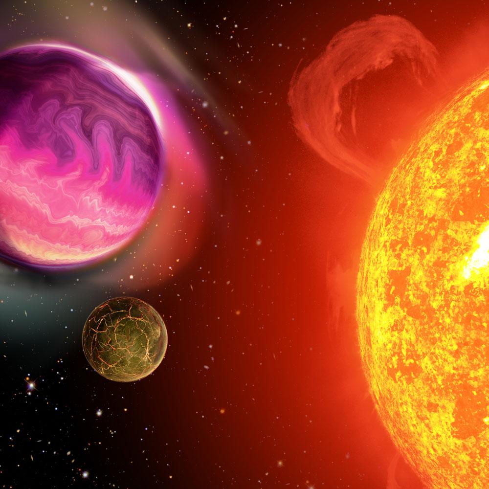 Iustración que muestra  una estrella con dos compañeros gigantes en órbita, un planeta gigante y una enana marrón, muy cerca. La estrella forma parte a su vez de un sistema binario junto con otra estrella más pequeña.