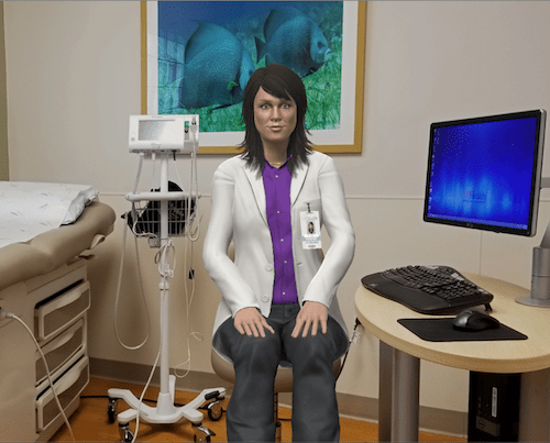 a virtual doctor in an exam room