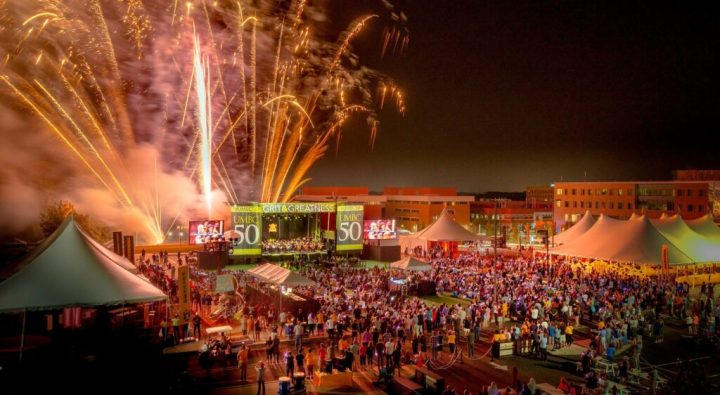 UMBC's 50th anniversary fireworks display / Photo by Dan Bailey