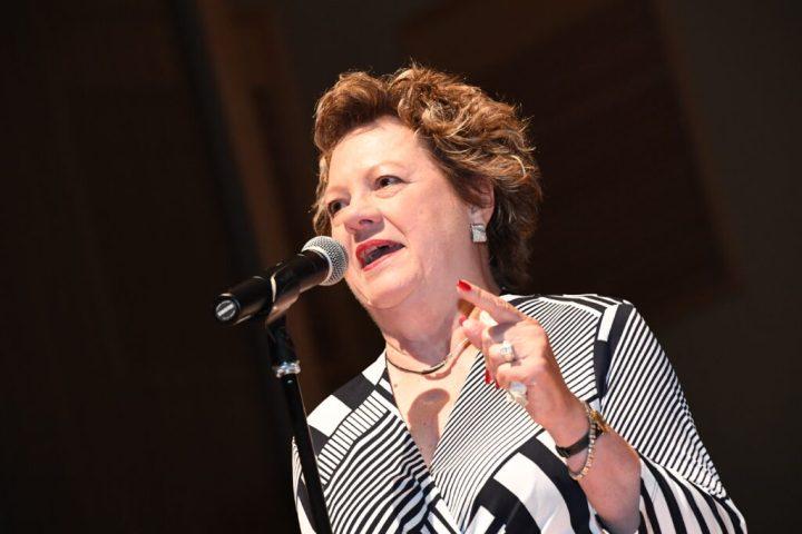 Donna Banks Hekler speaks at UMBC Stoop Stories event.