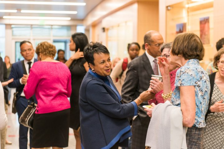 Carla Hayden connects with guests at her National Library Week talk on digital access.
