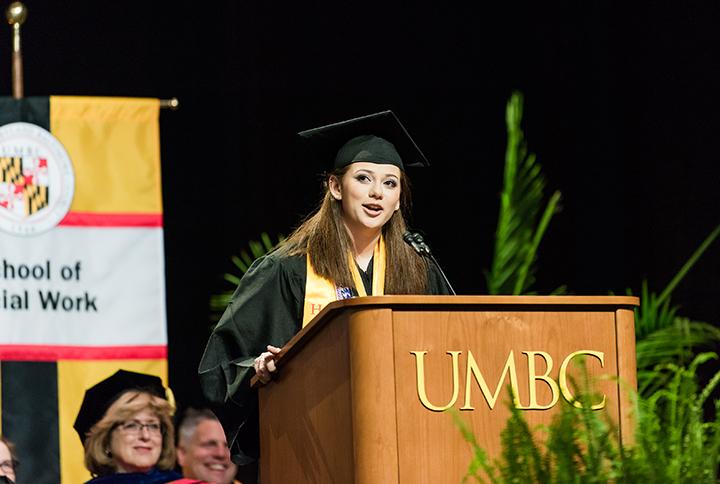 Valedictorian Kara Seidel addresses the class of 2018.