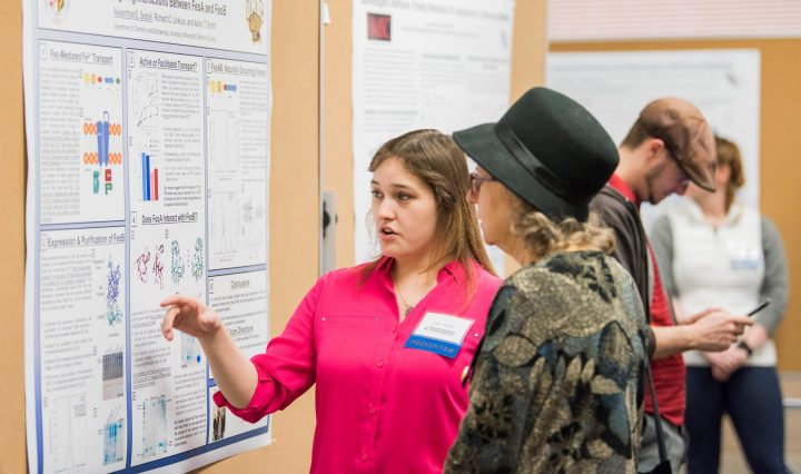 Alex Sestok, Ph.D. student in chemistry, at GRC 2018. Photo by Marlayna Demond '11 for UMBC.