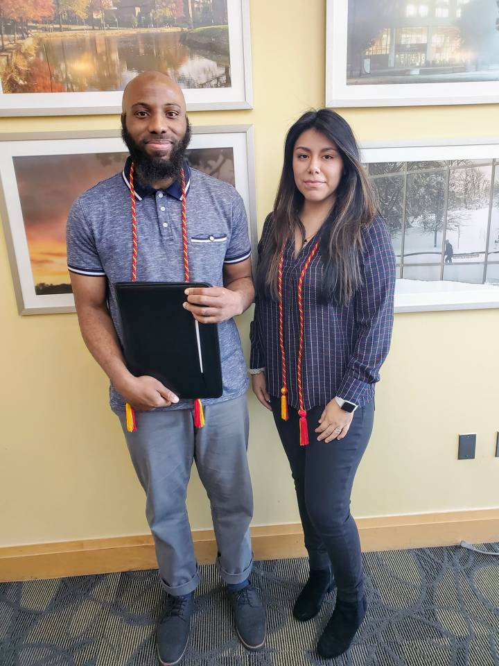 Arif with Bianca Monge receiving CWIT honors cords.