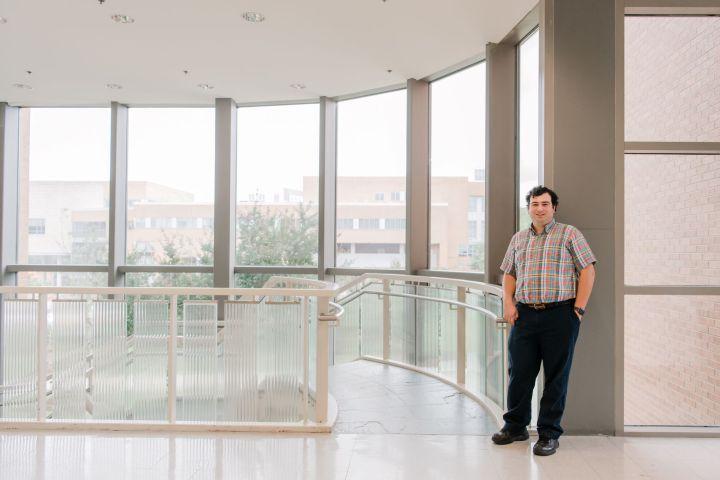 Professor in building atrium