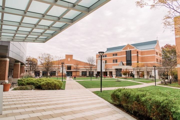 A college campus quad