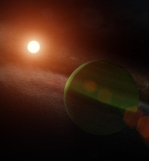 A large green sphere surrounded by wispy gray rings in the lower right, with a sun-like, smaller, yellow sphere in the upper left.