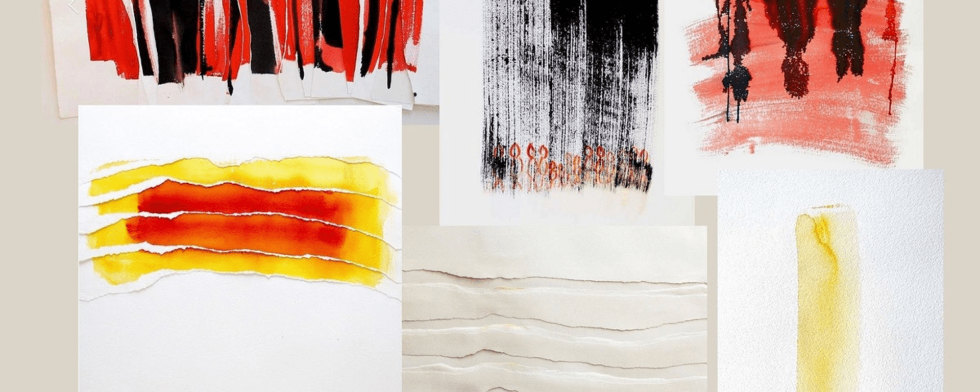 Five rectangular pieces of white paper with red, black, and yellow prints.