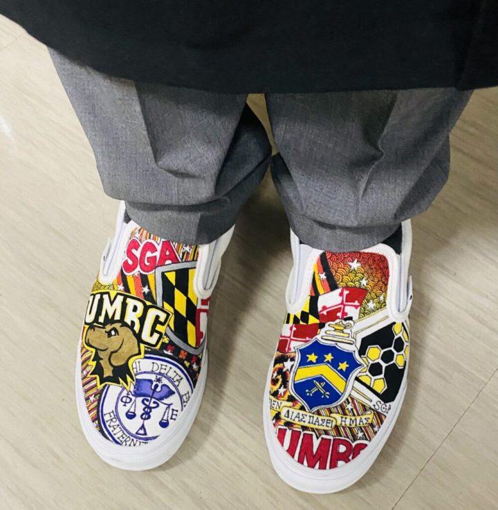 Custom shoes with UMBC logos