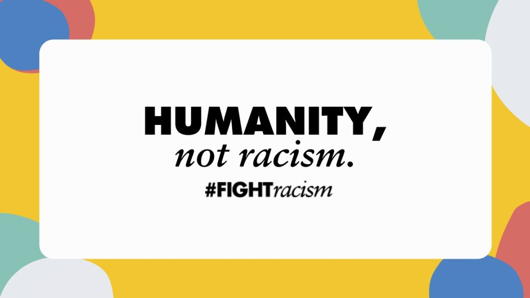 Graphic calling for humanity, not racism