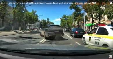 Video // Un Porsche Cayenne a încălcat grosolan RCR sub ochii unui echipaj INSP și în fața sediului MAI