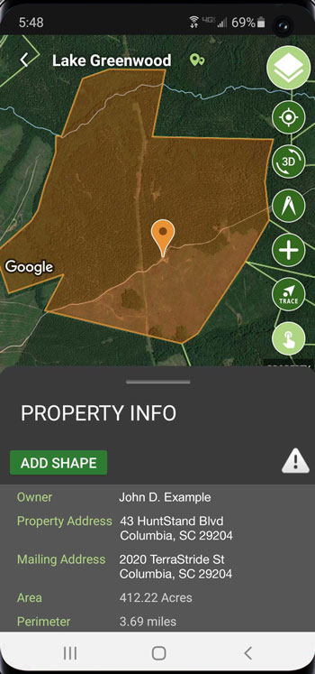 screen grab of terrastride app