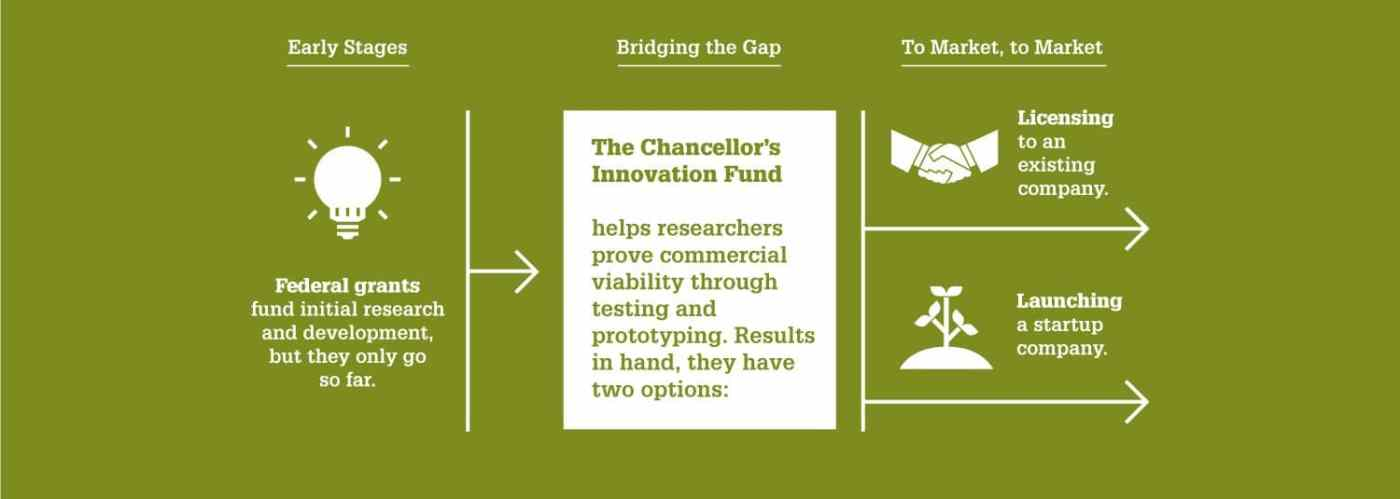 An infographic reads:  Federal grants fund initial research and development, but they only go so far. The Chancellor's Innovation Fund helps researchers prove commercial viability through testing and prototyping. Results in hand, they have two options.They can license to an existing company or launch a startup company.