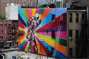 Street art in New York by Brazilian artist Eduardo Kobra.
