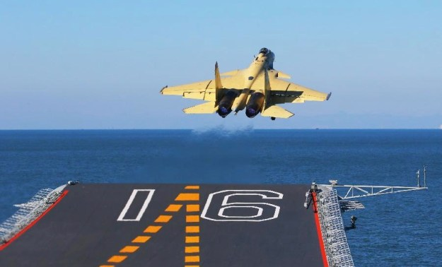 The PLAN's J-15 fighter jet takes off from Liaoning in this undated photo. Xinhua News Agency Photo
