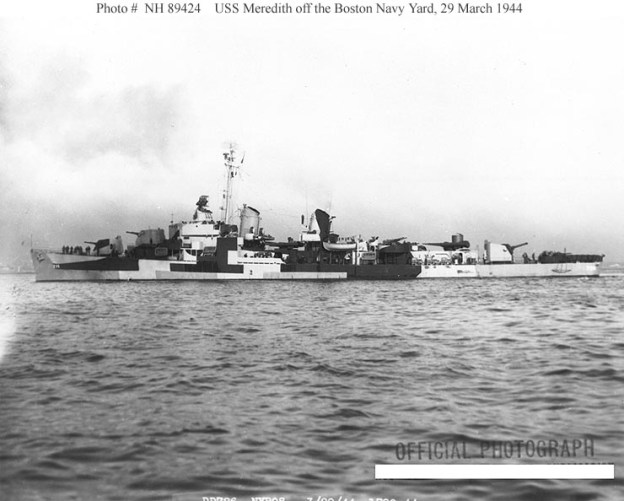 USS Meredith displaying a variant of the Measure 32 camouflage pattern in 1944