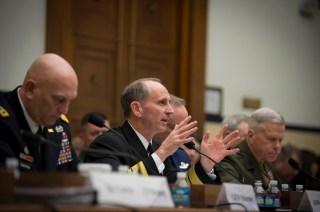 Adm. Jonathan Greenert with fellow service chiefs addressing Congress in an undated photo. US Navy Photo