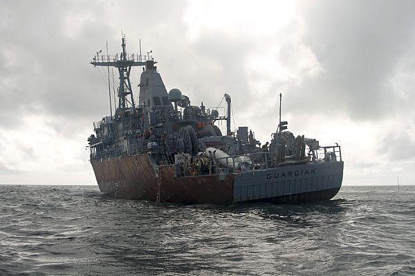 USS Guardian (MCM 5) sits aground on Tubbataha Reef on Feb. 8. US Navy Photo