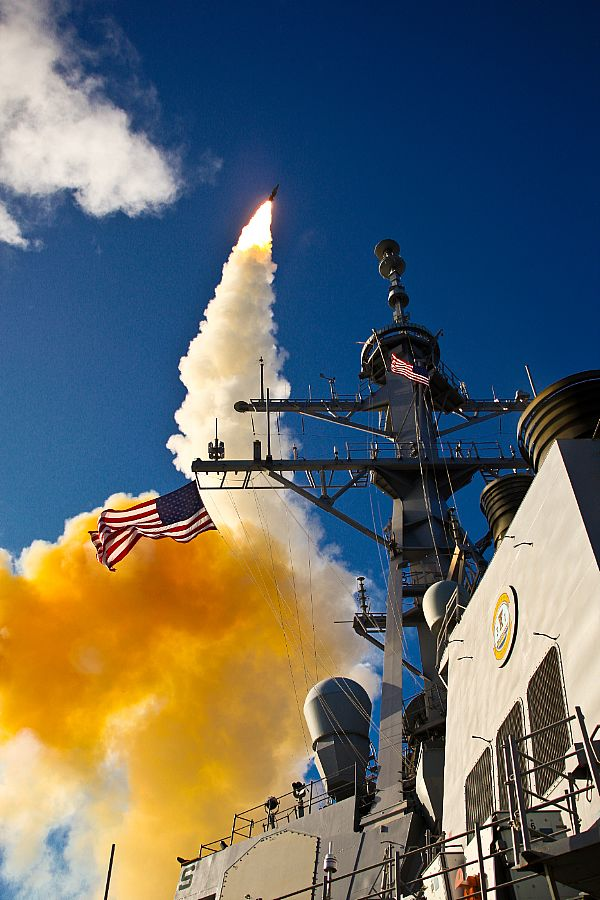 Aegis-class destroyer USS Hopper (DDG-70) launches a standard missile (SM) 3 Blk IA during a 2009 exercise. US Navy Photo