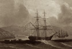 A U.S. brigantine similar to USS Washington, 1776
