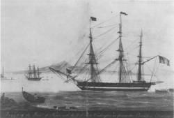 Ship of the line USS Washington in Naples, in 1815