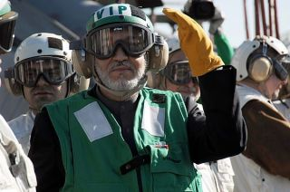 Afghan President Hamid Karzi onboard the USS Theodore Roosevelt in 2008. US Navy Photo