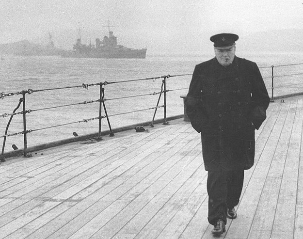 WInston Churchill onboard a Royal Navy Ship.