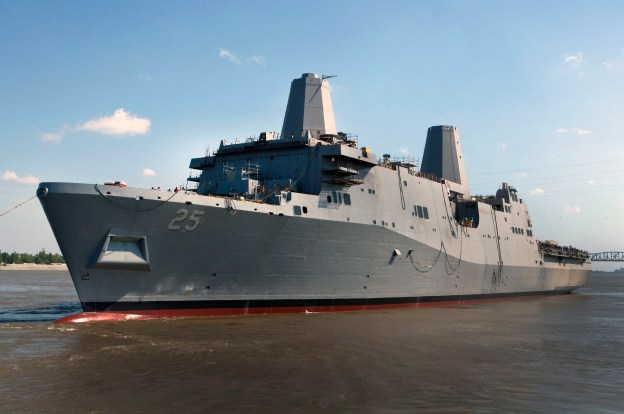 Somerset (LPD 25) is launched from the Huntington Ingalls Industries Avondale Shipyard in Louisiana on April, 14 2012. US Navy Photo