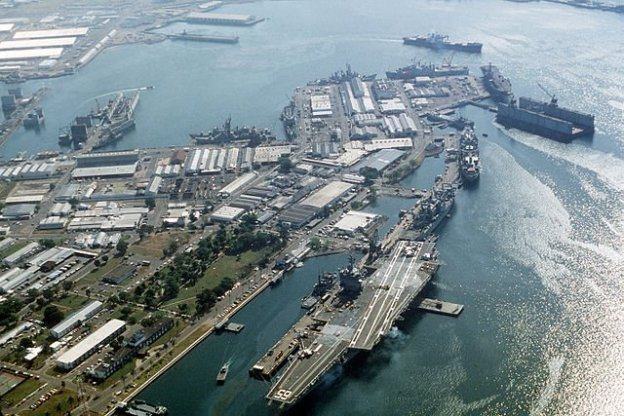 USS Enterprise (CVN-65) at Subic Bay in 1993. US Navy Photo