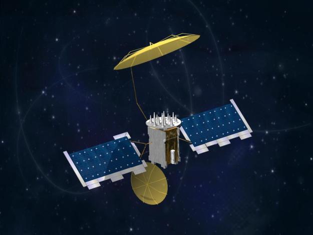 An undated Lockheed Martin artist representation of a MUOS satellite. Lockheed Martin Photo