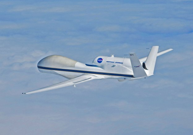 NASA Global Hawk Unmanned Aircraft System (UAS) is capable of flight altitudes greater than 55,000 feet and flight durations of up to 30 hours. NASA Photo