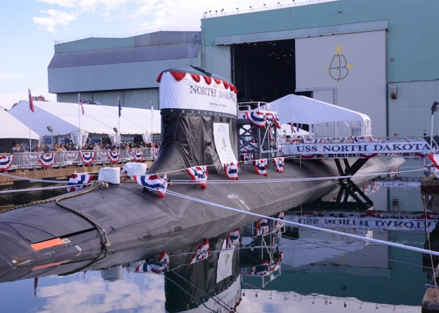 North Dakota (SSN 784) sits moored at the graving dock of General Dynamics Electric Boat prior to its christening ceremony in Groton, Conn. on Nov. 2, 2013. US Navy Photo