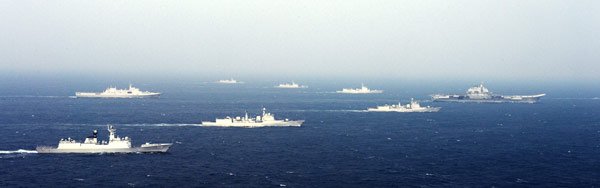 An undated photo of Chinese Liaoning leading a group of People's Liberation Army Navy ships. Xinhua Photo