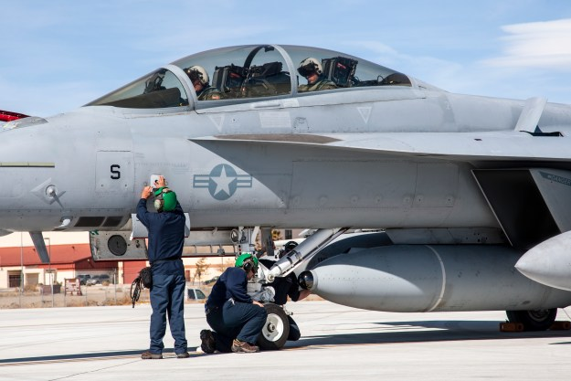 The new IRST weapons pod mounted on a F/A-18 F Super Hornet at Naval Air Weapons Station China Lake, Calif. US Navy Photo