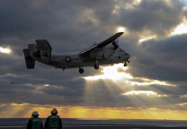 A C-2A Greyhound, takes off from the flight deck of the aircraft carrier USS Theodore Roosevelt (CVN-71). US Navy Photo