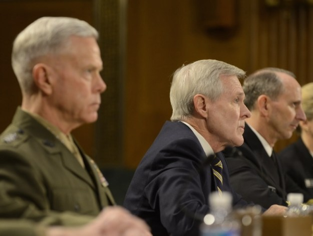 Secretary of the Navy RAy MAbus, Gen. James Amos and Adm. Jonathan Greenert before the Senate on March 12, 2014. US Navy Photo