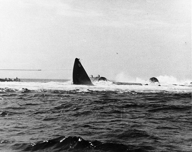 USS Squalus (SS-192) getting pulled up from the bottom of the ocean. US Navy Photo