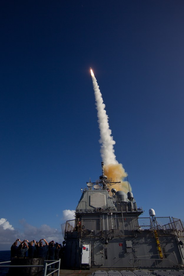 A Standard Missile – 3 (SM-3) Block 1B interceptor is launched from the USS LAKE ERIE (CG-70) in 2013. Missile Defense Agency Photo